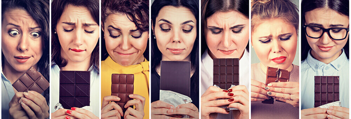 Femmes qui mangent leur émotions. Elles sont à la recherche de leur poids bonheur sans régime. Un retour vers la sérénité alimentaire.